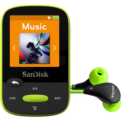 SANDISK CLIP SPORT 8 GB FLASH MP3 PLAYER - LIME - FM TUNER - 1 4
